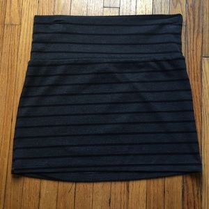 Gray and black mini pencil skirt; stretchy